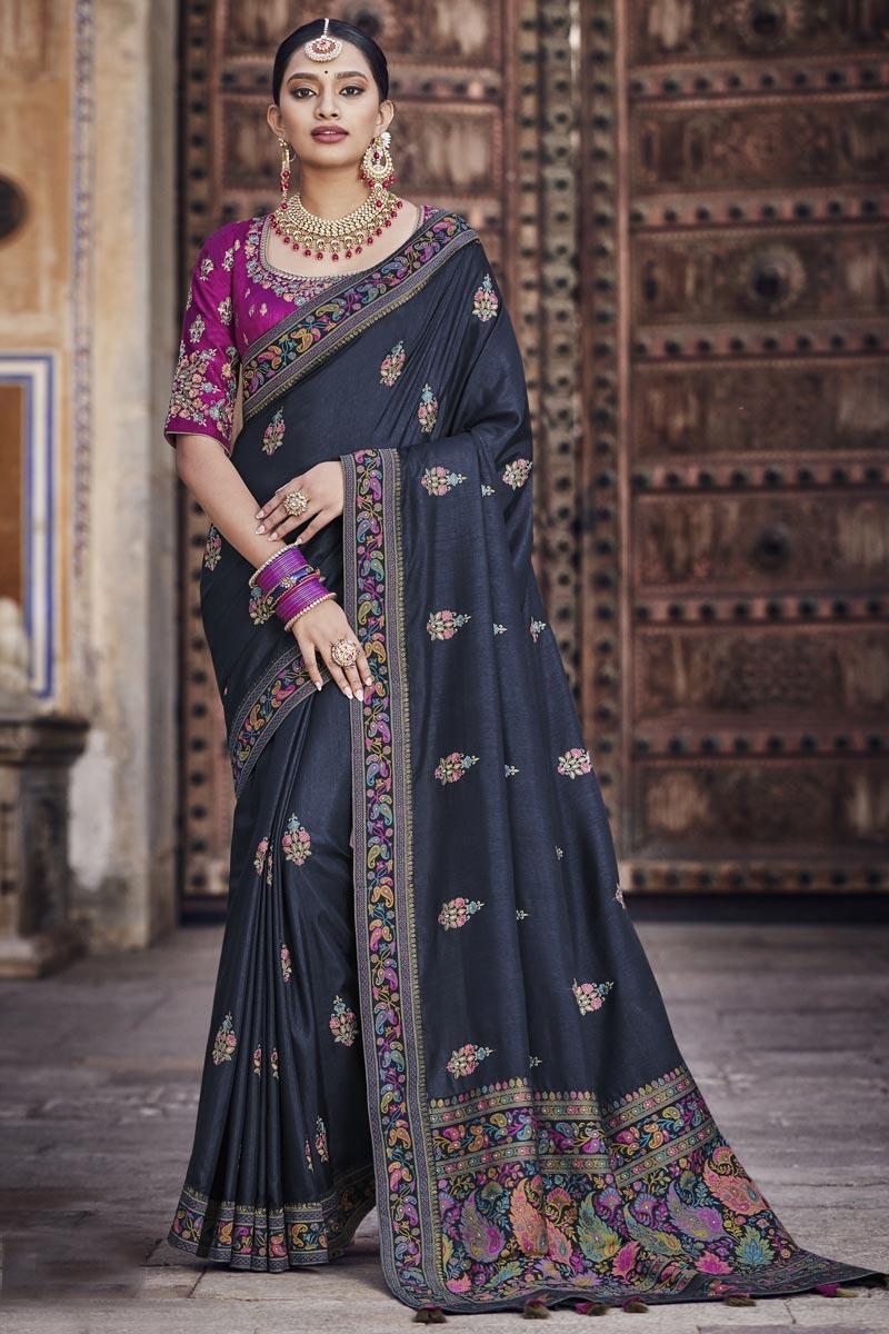 Black Color Art Silk Fabric Designer Saree
