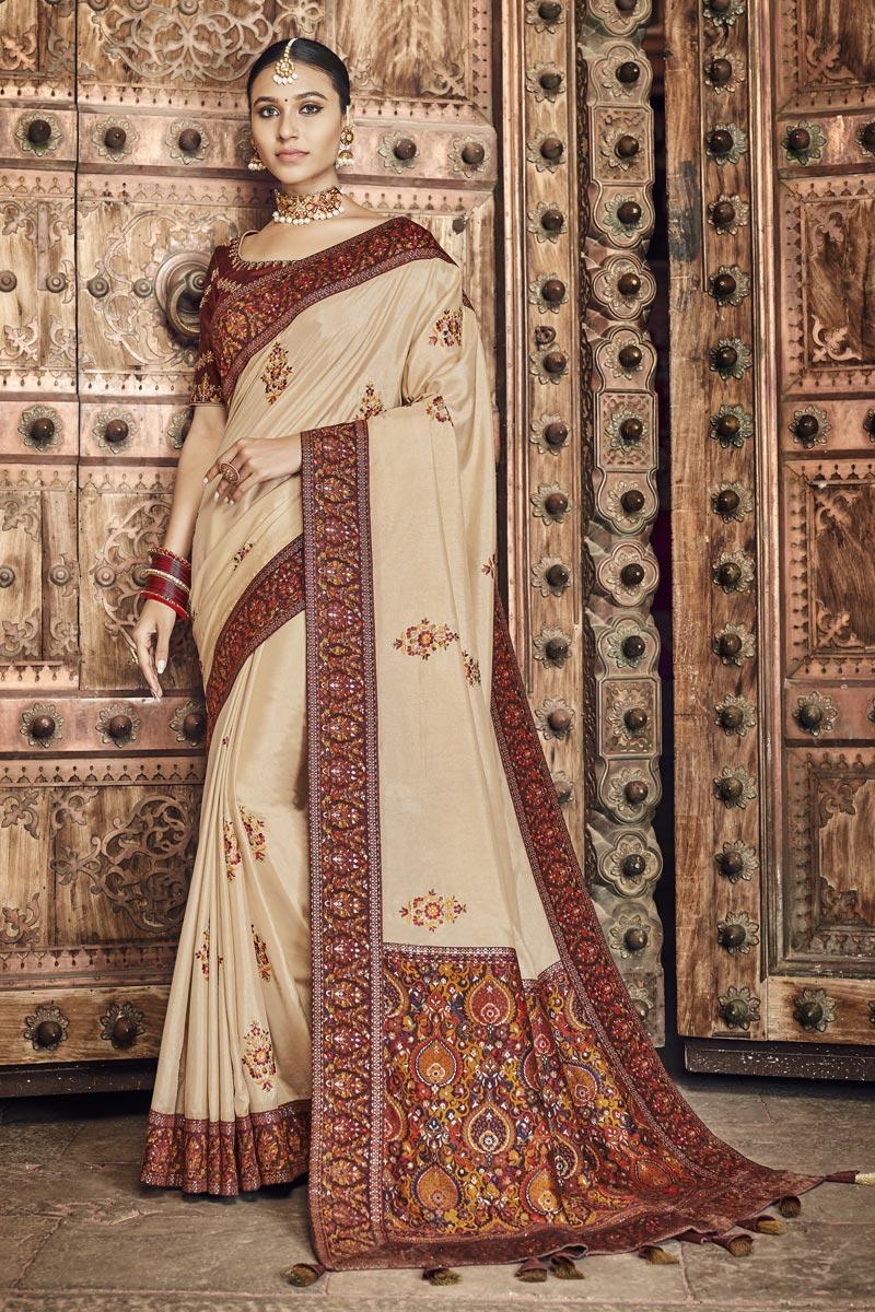 Art Silk Fabric Wedding Wear Designer Saree In Beige Color