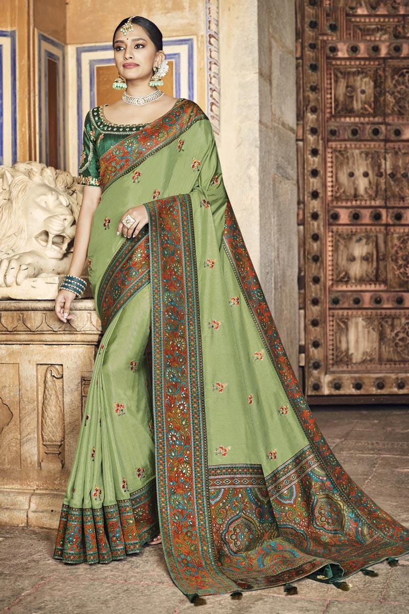 Green Color Art Silk Fabric Festive Wear Saree
