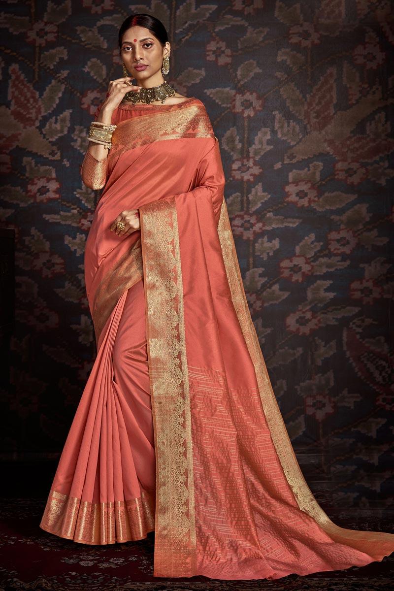 Art Silk Trendy Festive Wear Peach Color Weaving Work Saree