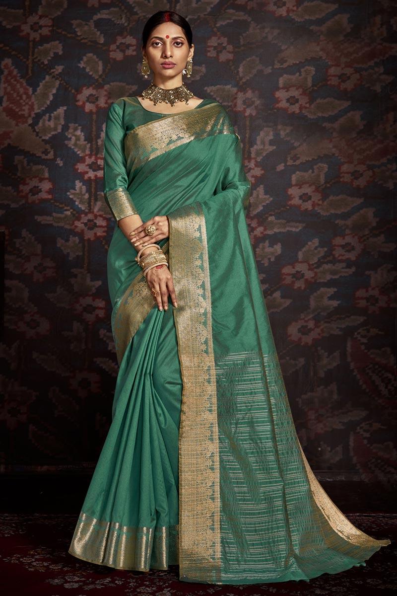 Green Color Festive Wear Art Silk Trendy Weaving Work Saree