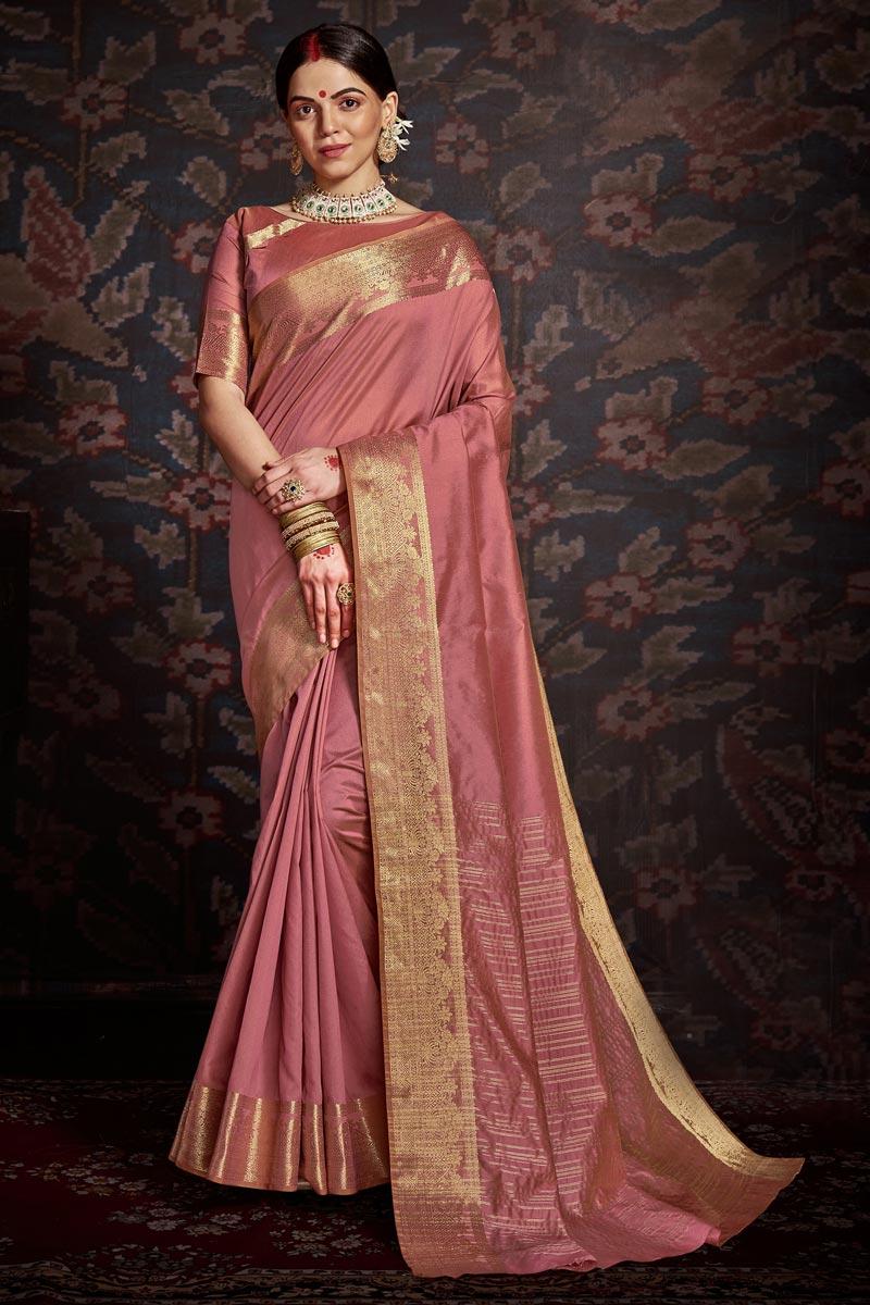 Art Silk Festive Wear Trendy Pink Color Weaving Work Saree