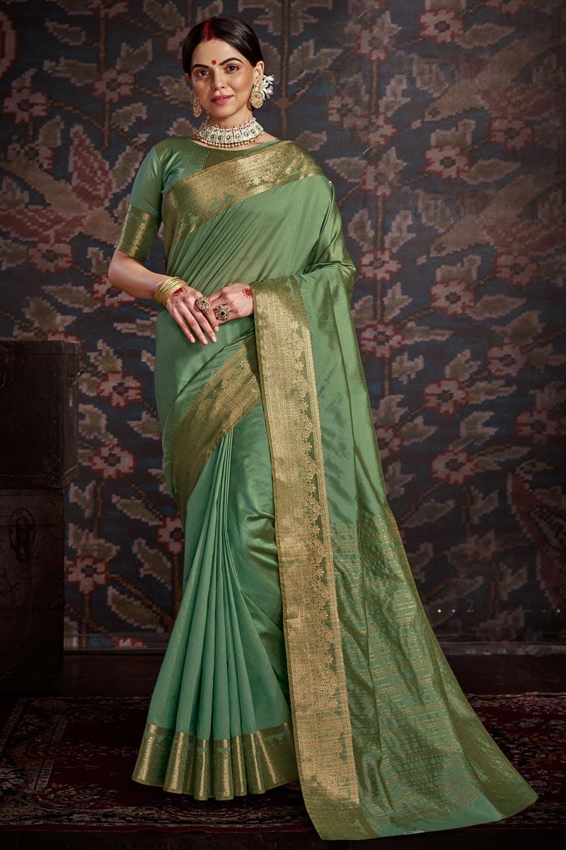 Festive Wear Sea Green Color Trendy Art Silk Weaving Work Saree