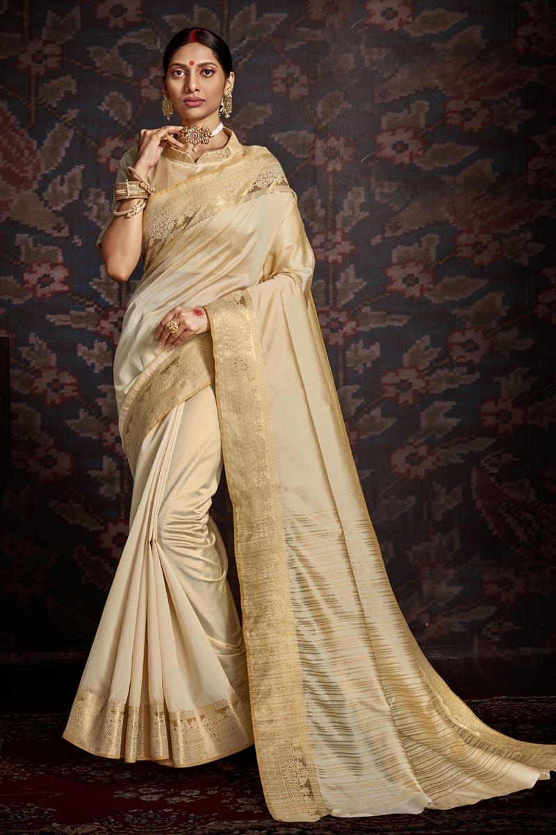Festive Wear Art Silk Trendy Weaving Work Saree In Cream Color