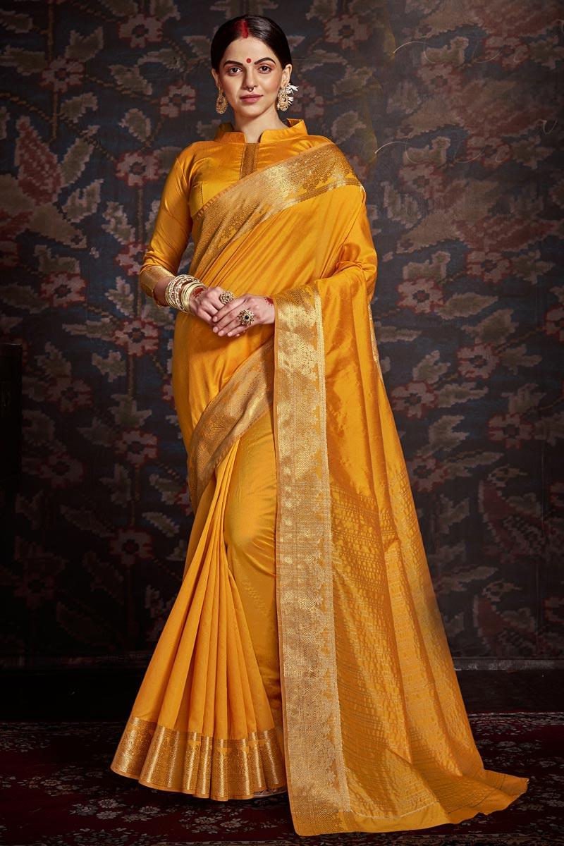 Yellow Color Festive Wear Trendy Art Silk Weaving Work Saree