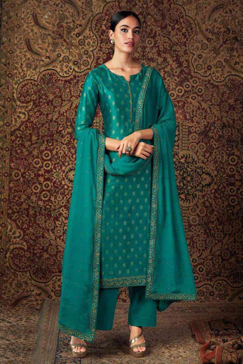 Party Wear Teal Color Trendy Embroidered Straight Cut Suit In Art Silk