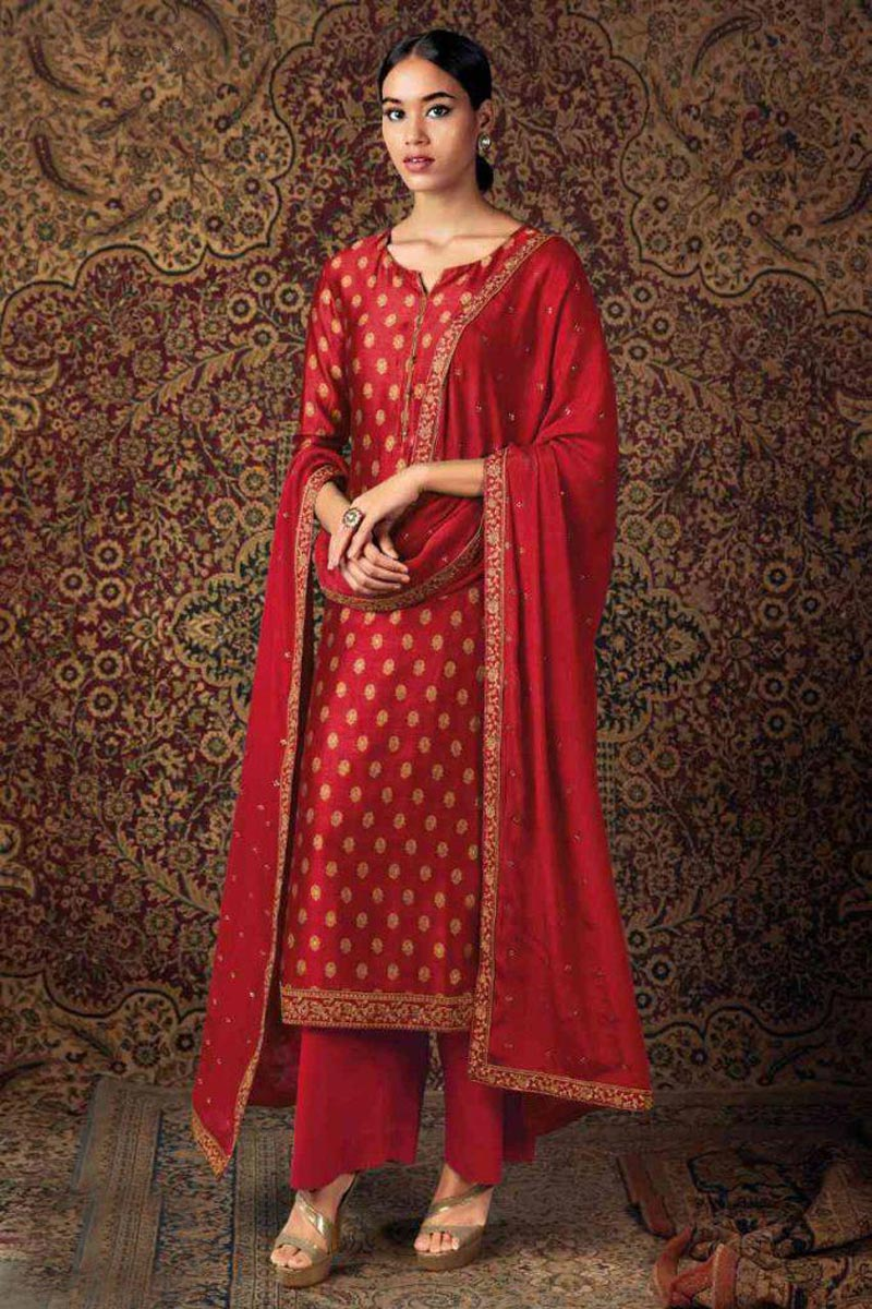 Red Color Party Wear Trendy Embroidered Straight Cut Suit In Art Silk