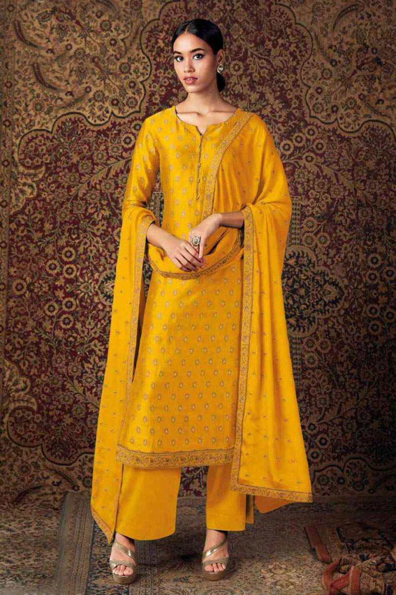 Party Wear Yellow Color Art Silk Trendy Embroidered Straight Cut Dress