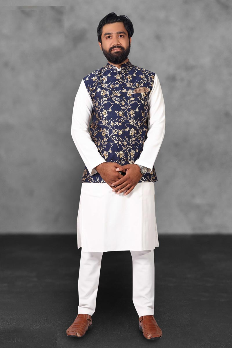 Sangeet Wear Cotton Fabric Kurta Pyjama With Jacket In White Color For Men