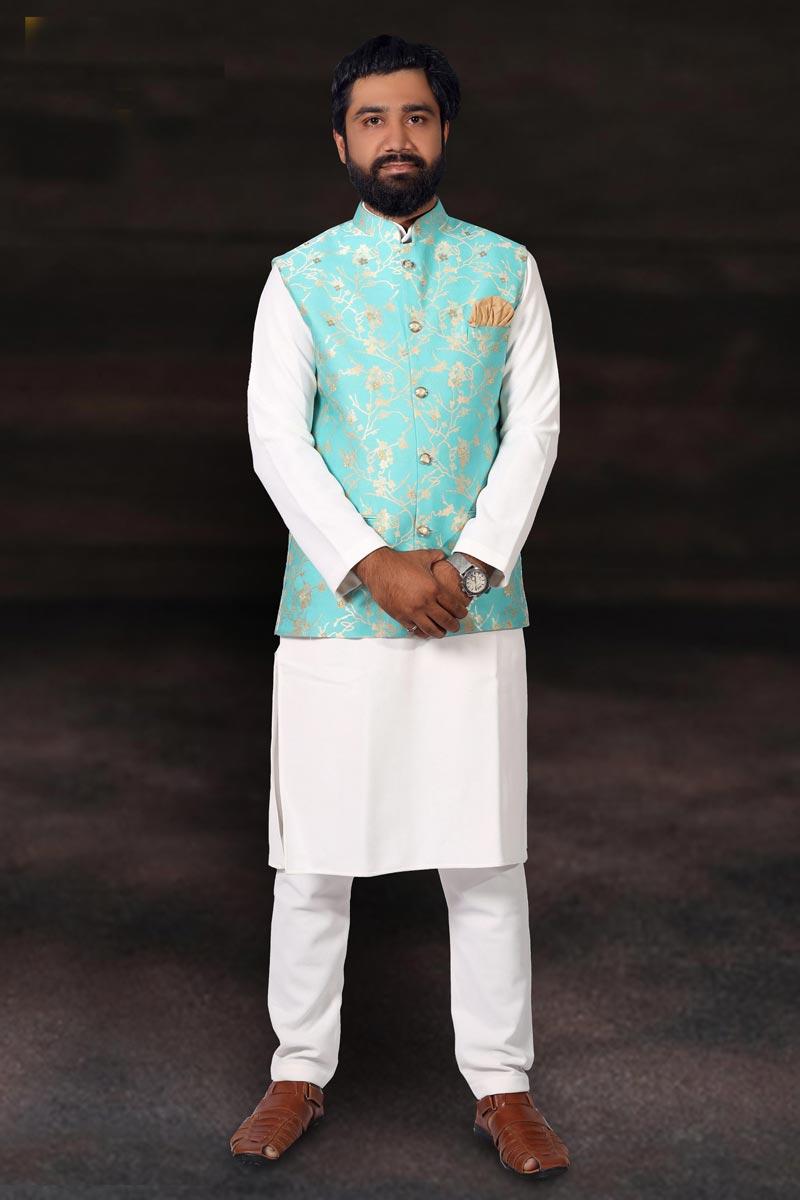 Cotton Fabric White Color Function Wear Kurta Pyjama With Jacket
