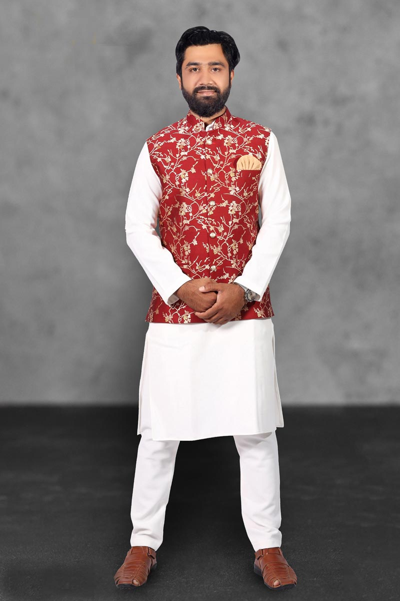Mens Function Wear Cotton Fabric White Color Kurta Pyjama With Jacket