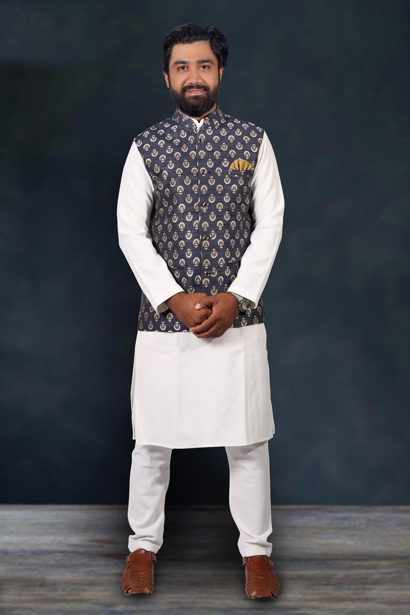 Function Wear Cotton Fabric Kurta Pyjama With Fancy Jacket In White Color For Men