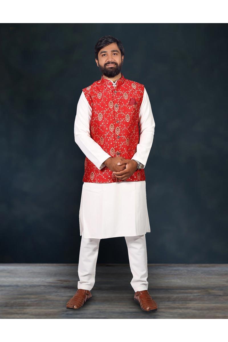 Mens Function Wear Cotton Fabric White Color Kurta Pyjama With Fancy Jacket