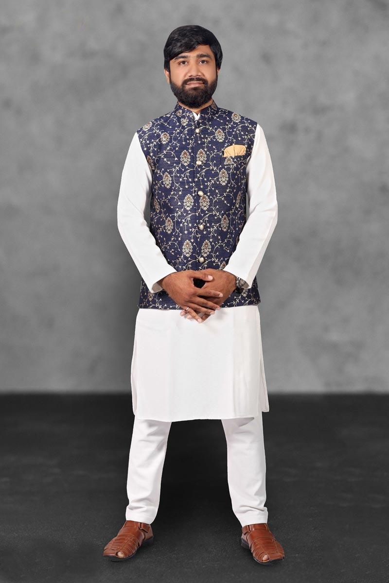 White Color Cotton Fabric Function Wear Fancy Kurta Pyjama With Fancy Jacket
