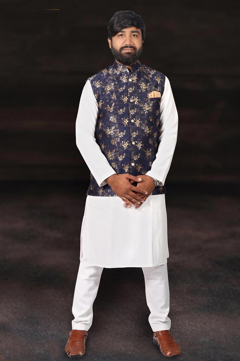 Sangeet Wear Cotton Fabric Kurta Pyjama With Fancy Jacket