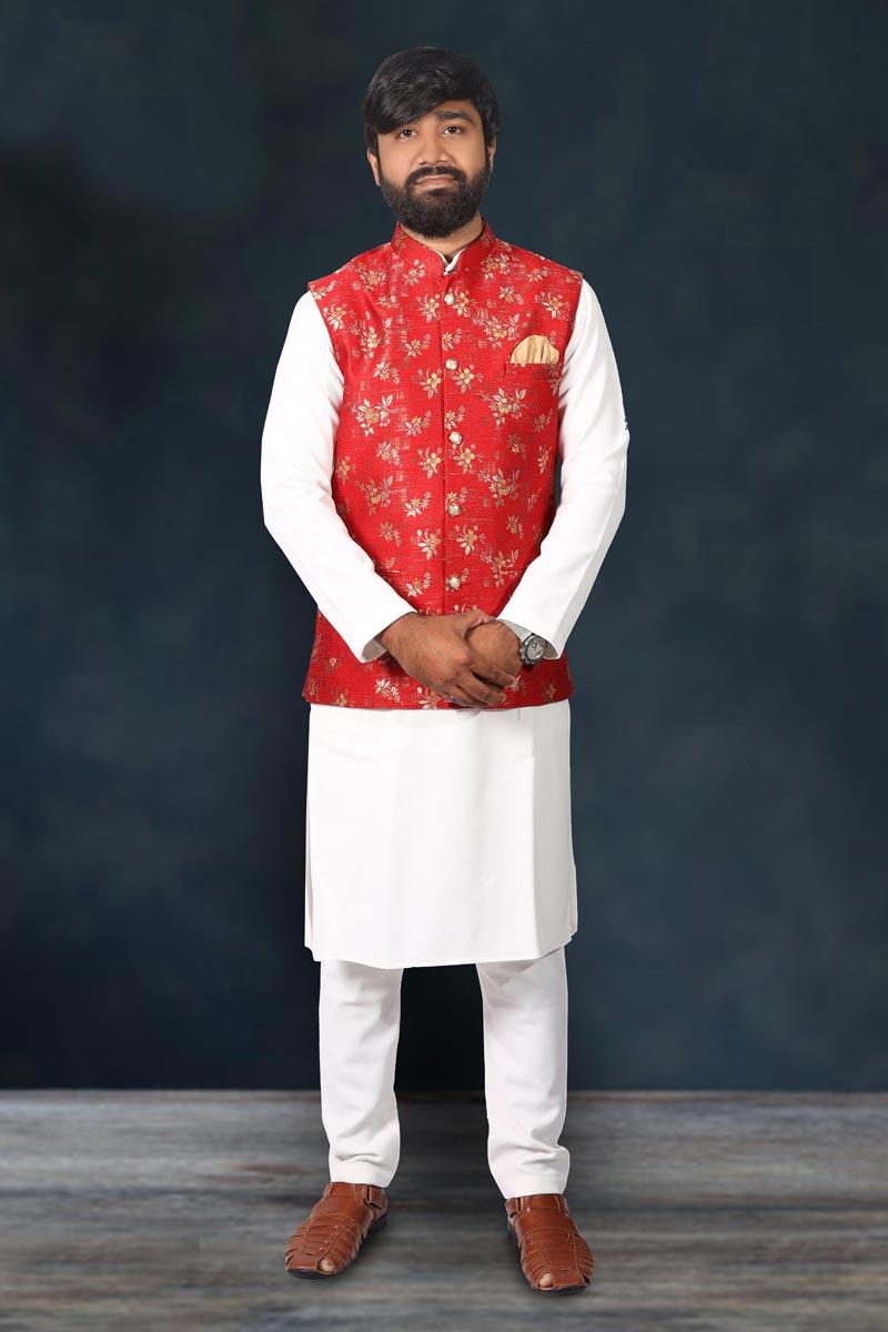 Cotton Fabric White Color Function Wear Kurta Pyjama With Stylish Jacket