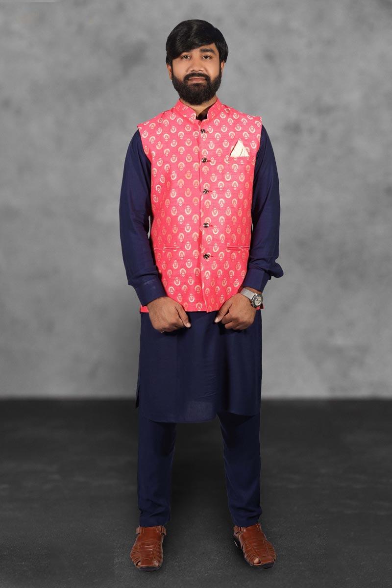 Navy Blue Color Cotton Fabric Designer Kurta Pyjama With Stylish Jacket