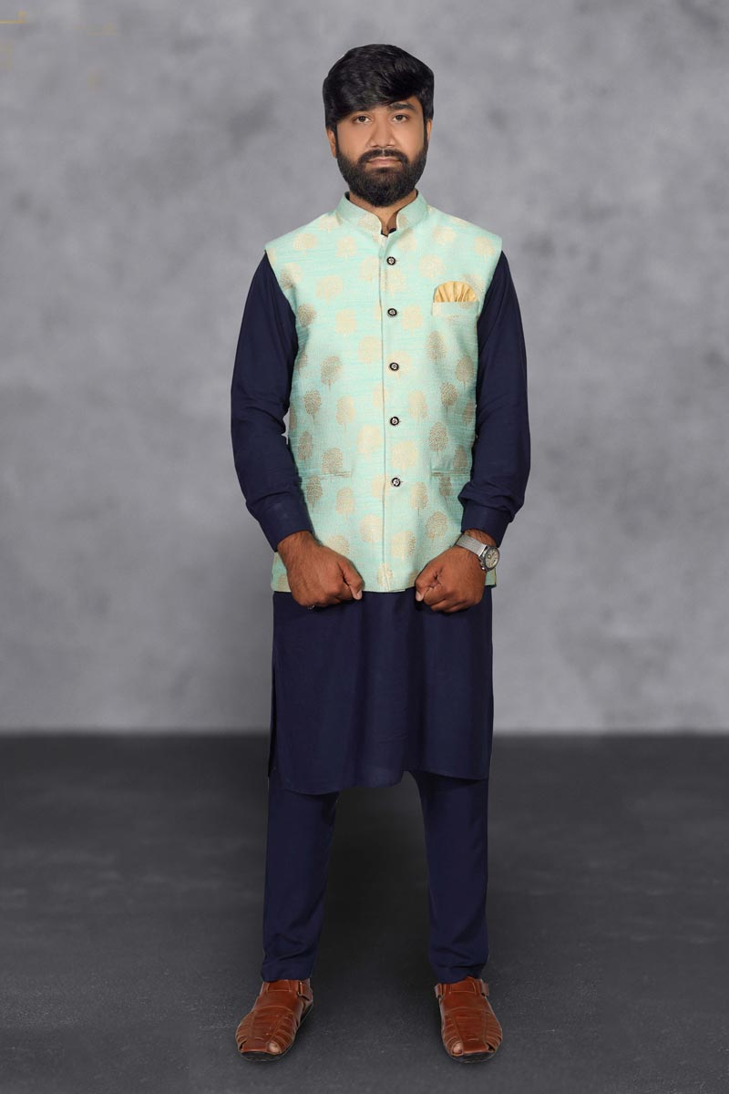 Mens Function Wear Cotton Fabric Navy Blue Color Kurta Pyjama With Stylish Jacket