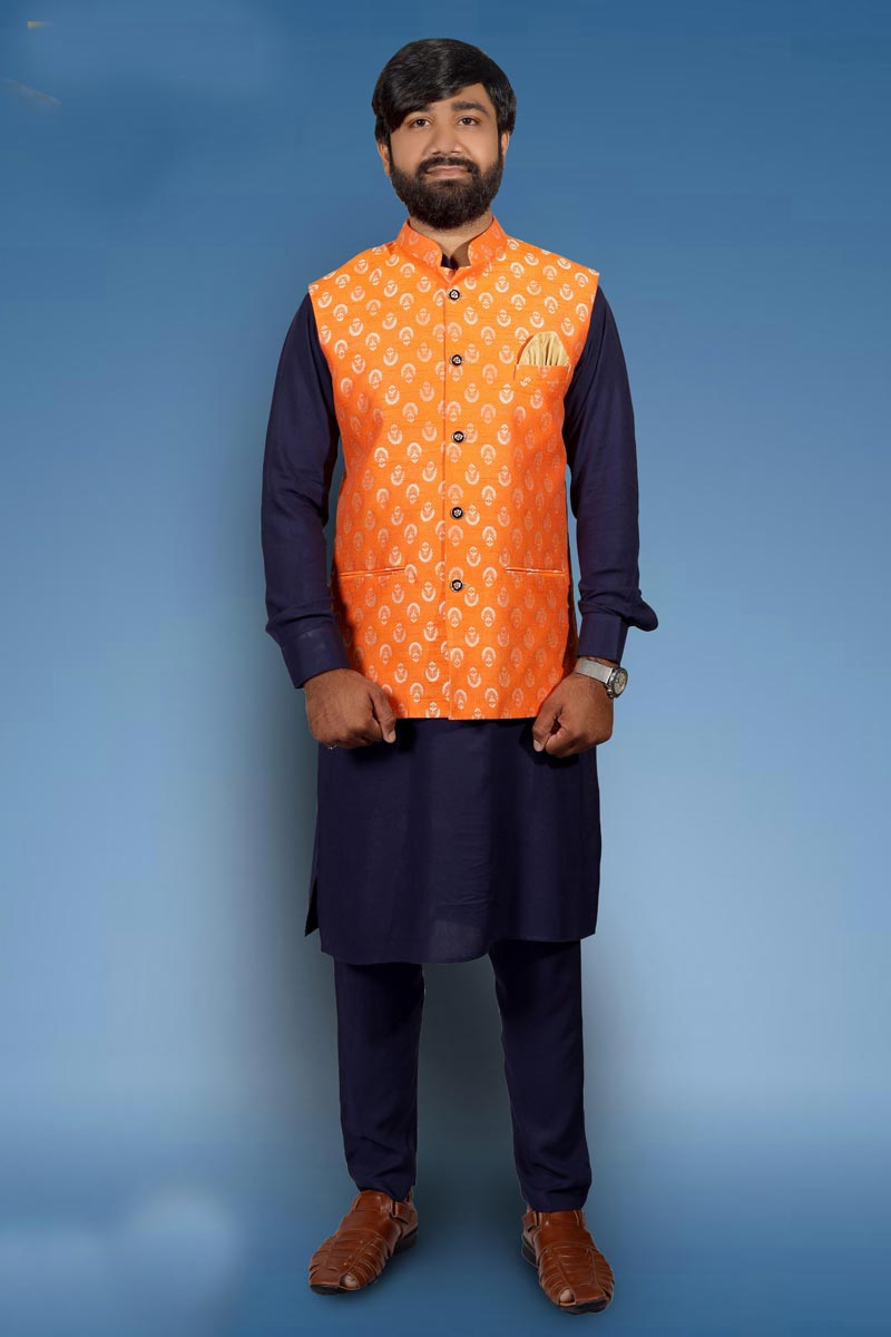 Function Wear Cotton Fabric Kurta Pyjama With Stylish Jacket In Navy Blue Color
