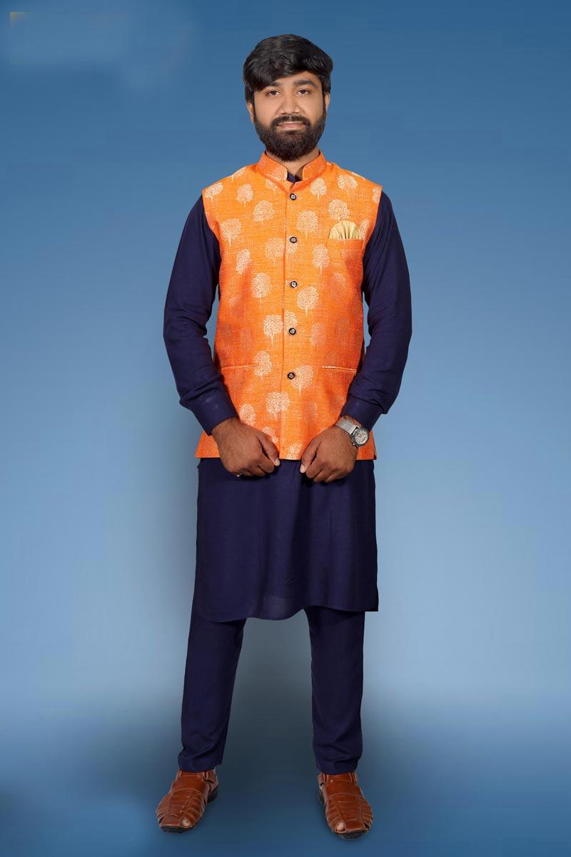 Mens Function Wear Cotton Fabric Navy Blue Color Kurta Pyjama With Designer Jacket
