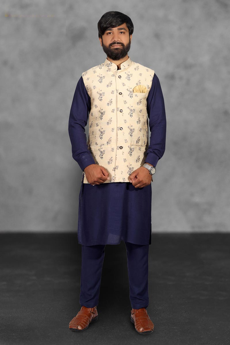 Navy Blue Color Cotton Fabric Function Wear Fancy Kurta Pyjama With Designer Jacket