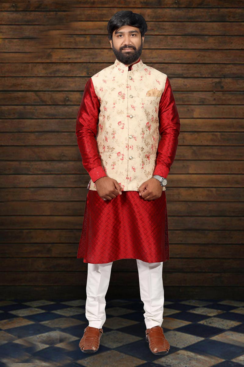 Cotton Fabric Festive Wear Stylish Kurta Pyjama With Designer Jacket In Red Color