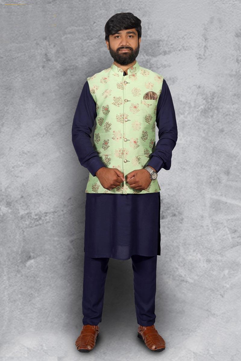 Navy Blue Color Cotton Fabric Function Wear Kurta Pyjama With Designer Jacket