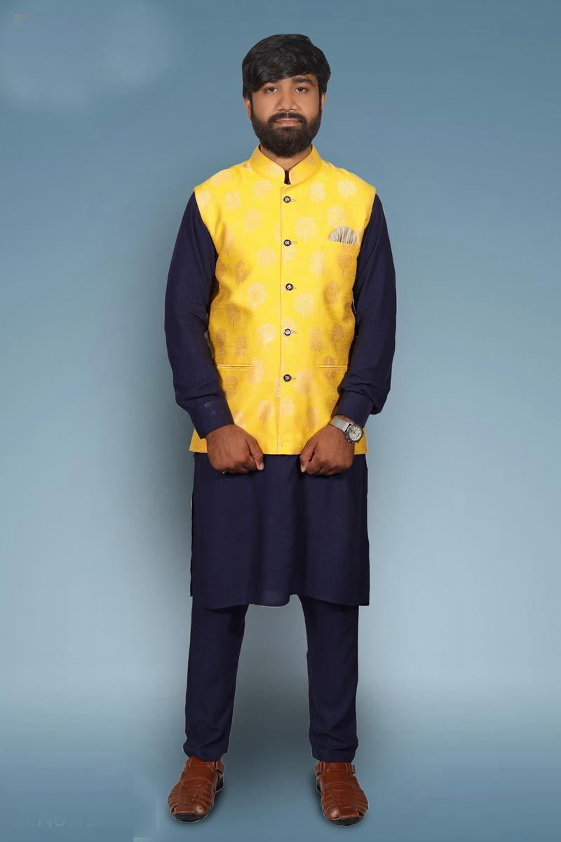 Cotton Fabric Festive Wear Kurta Pyjama With Modi Jacket In Navy Blue Color