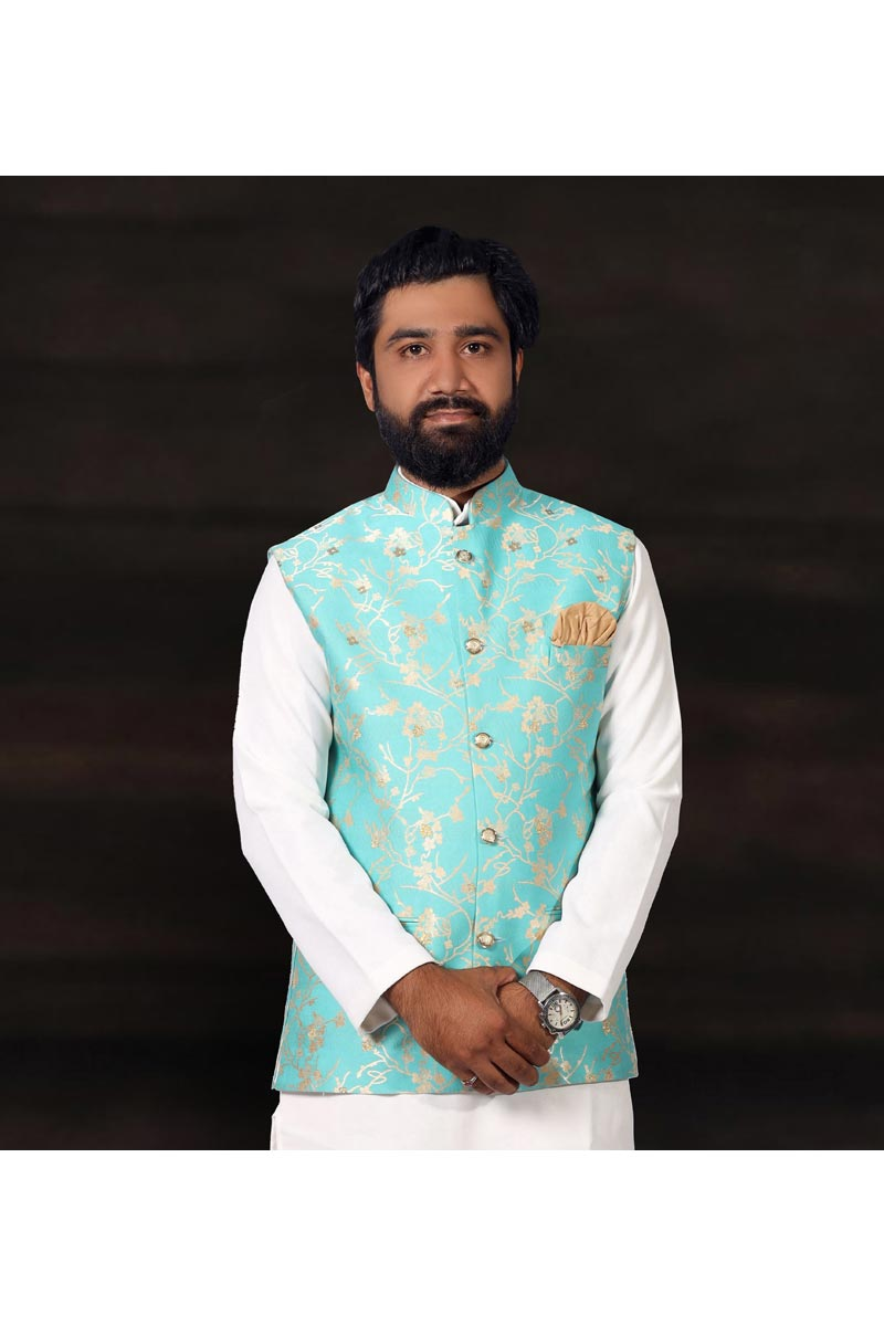 Sangeet Wear Jacket In Sea Green Color For Men