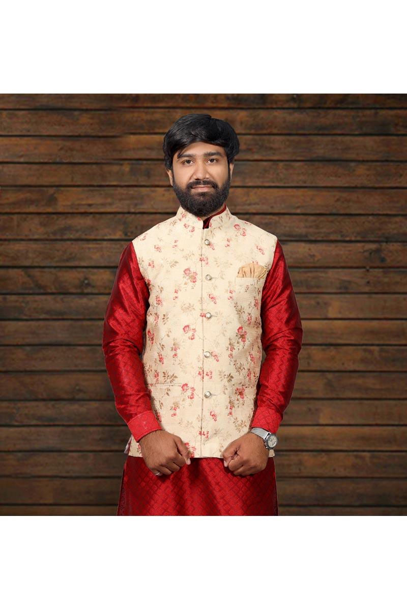 Beige Color Function Wear Fancy Designer Jacket