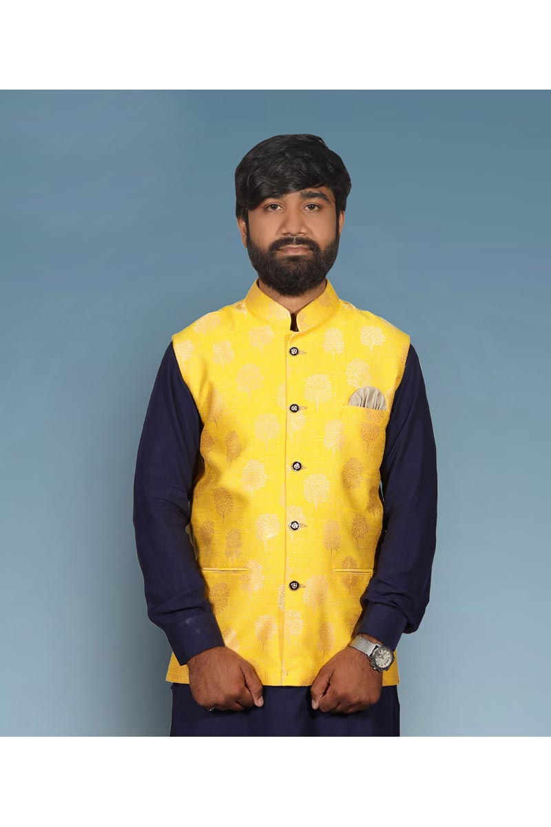 Yellow Color Function Wear Modi Jacket