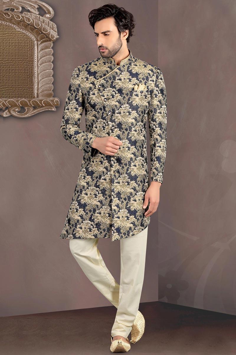 Navy Blue Color Brocade Fabric Readymade Mens Indo Western