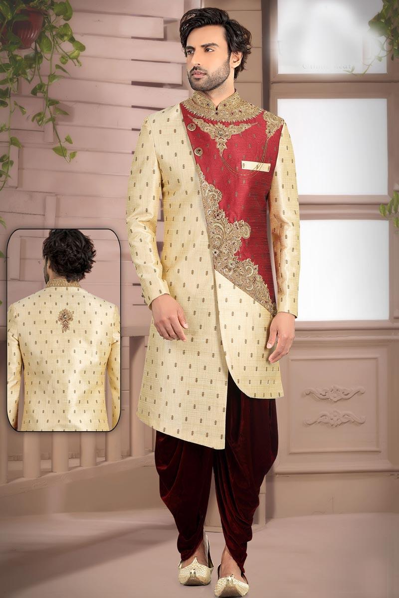 Fancy Brocade Fabric Readymade Mens Sherwani In Beige Color