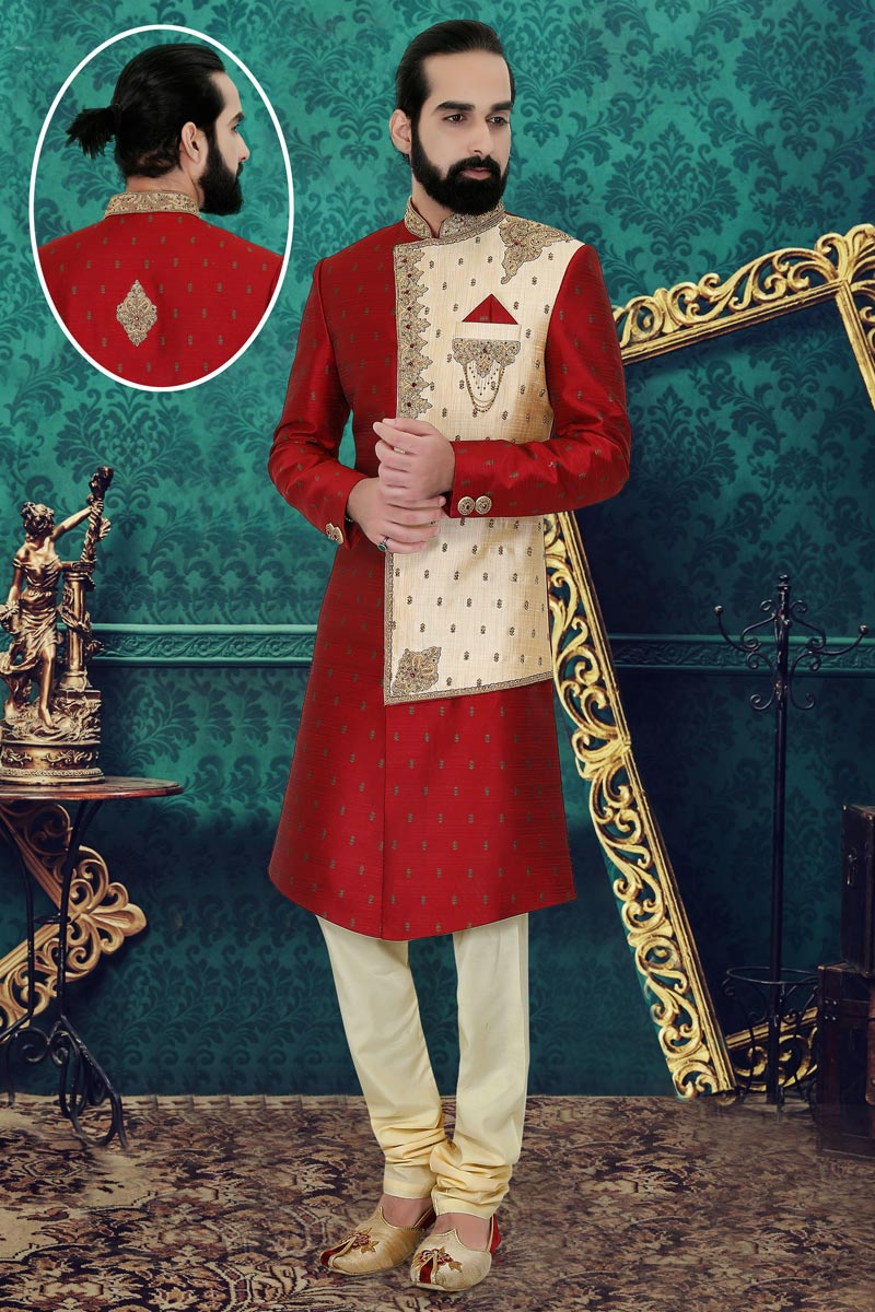 Maroon Color Fancy Readymade Mens Sherwani In Brocade Fabric