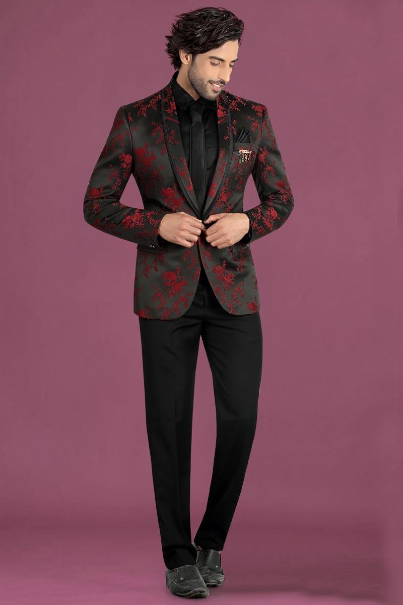 Black Color Jacquard Fabric Party Wear Suit For Men