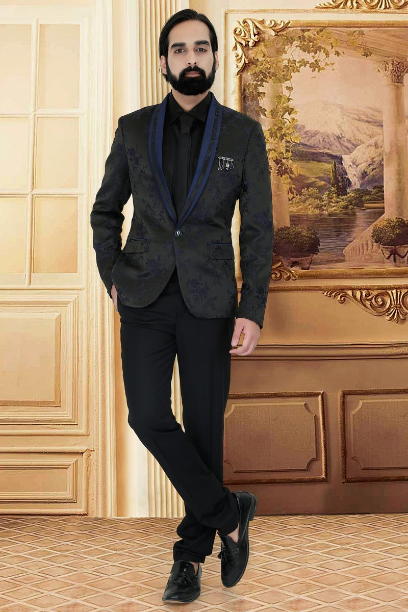Jacquard Fabric Wedding Wear Designer Suit For Men In Black Color