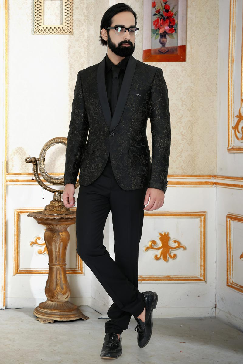 Reception Wear Stylish Suit For Men In Black Color Jacquard Fabric