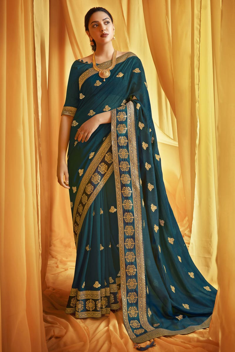 Art Silk Fabric Trendy Festive Wear Teal Color Embroidery Work Saree