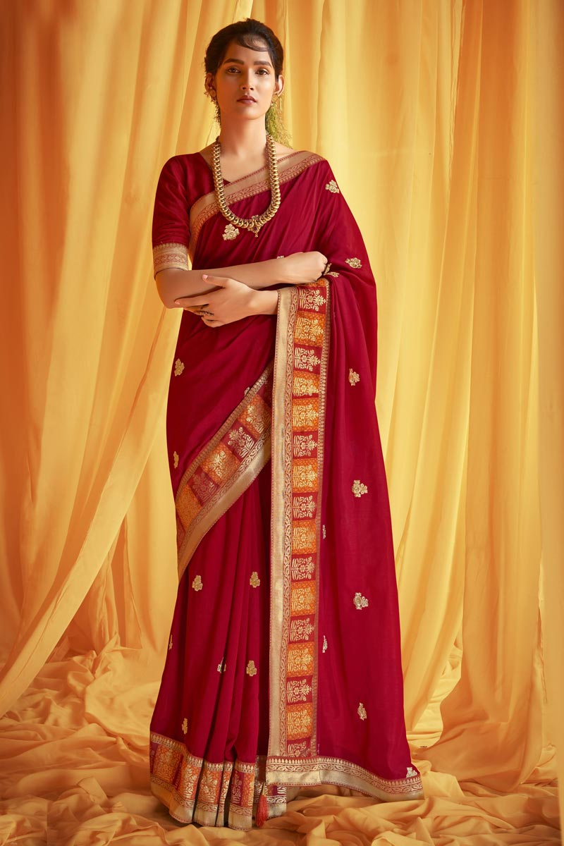 Red Color Festive Wear Art Silk Fabric Trendy Embroidery Work Saree