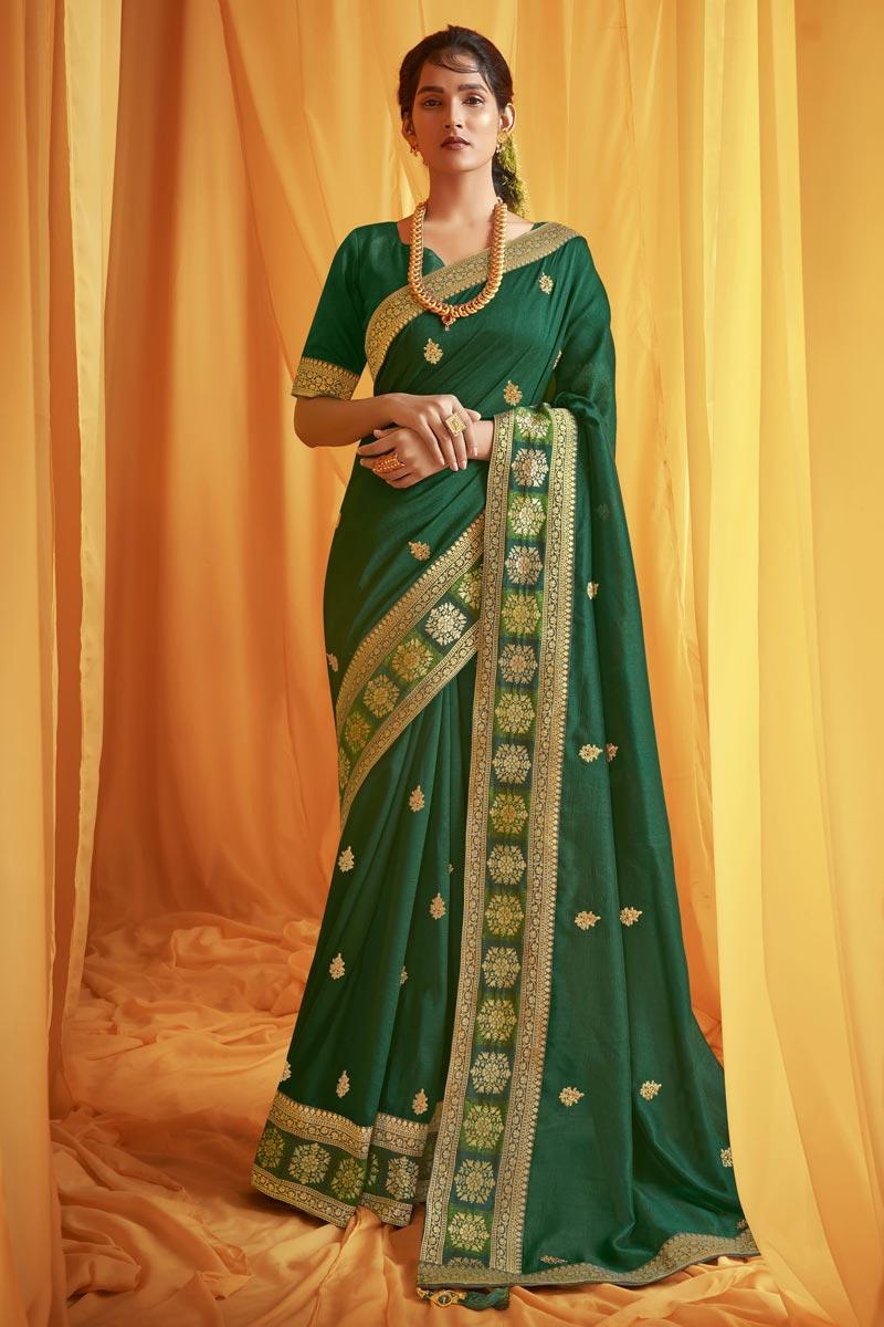 Art Silk Fabric Festive Wear Trendy Green Color Embroidery Work Saree