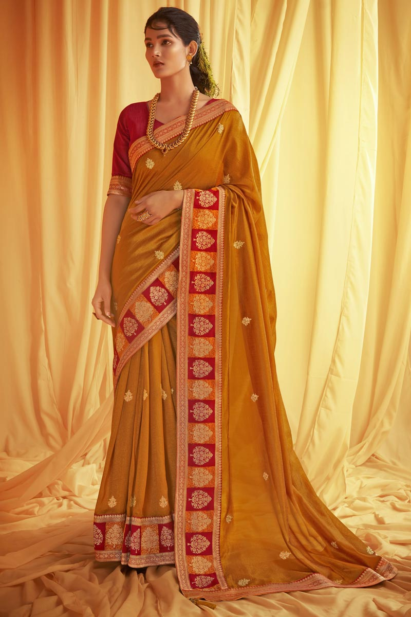 Festive Wear Mustard Color Trendy Art Silk Fabric Embroidery Work Saree