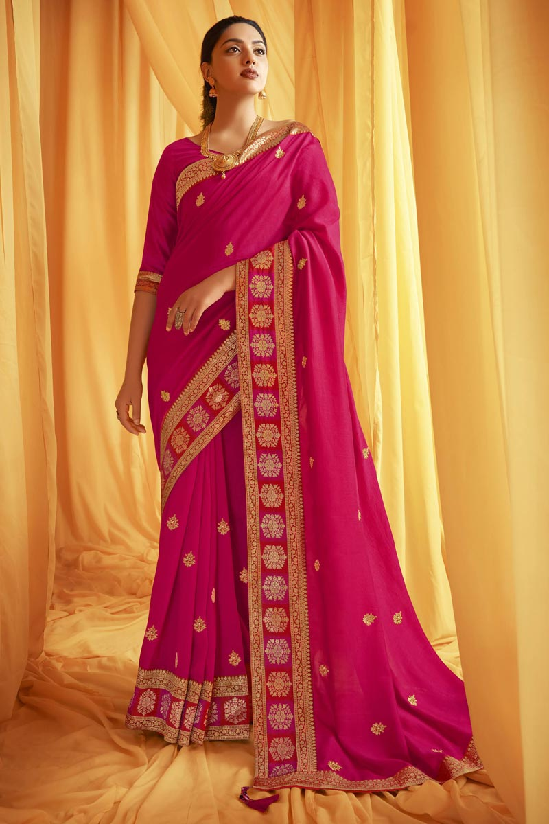 Festive Wear Art Silk Fabric Trendy Embroidery Work Saree In Rani Color