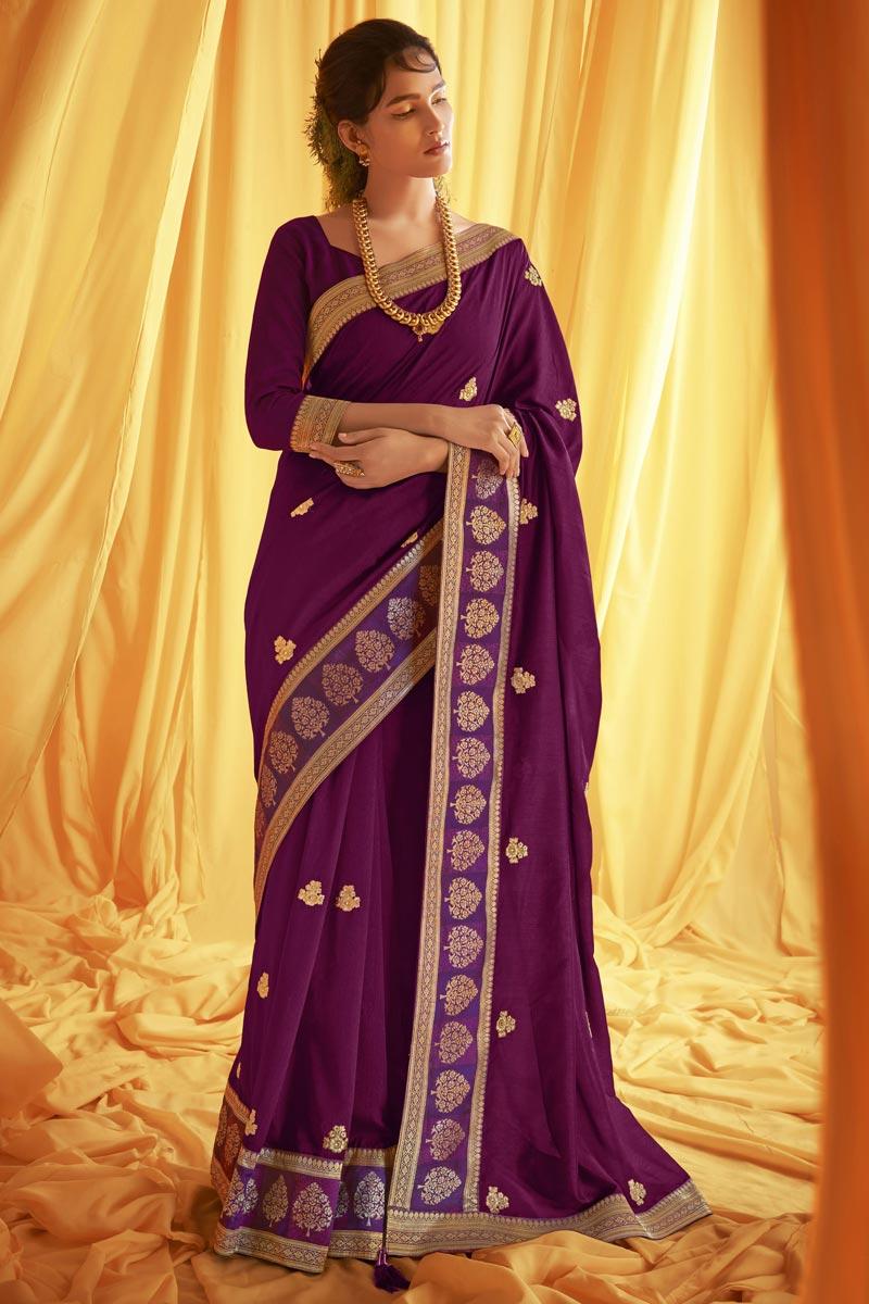 Purple Color Festive Wear Trendy Art Silk Fabric Embroidery Work Saree