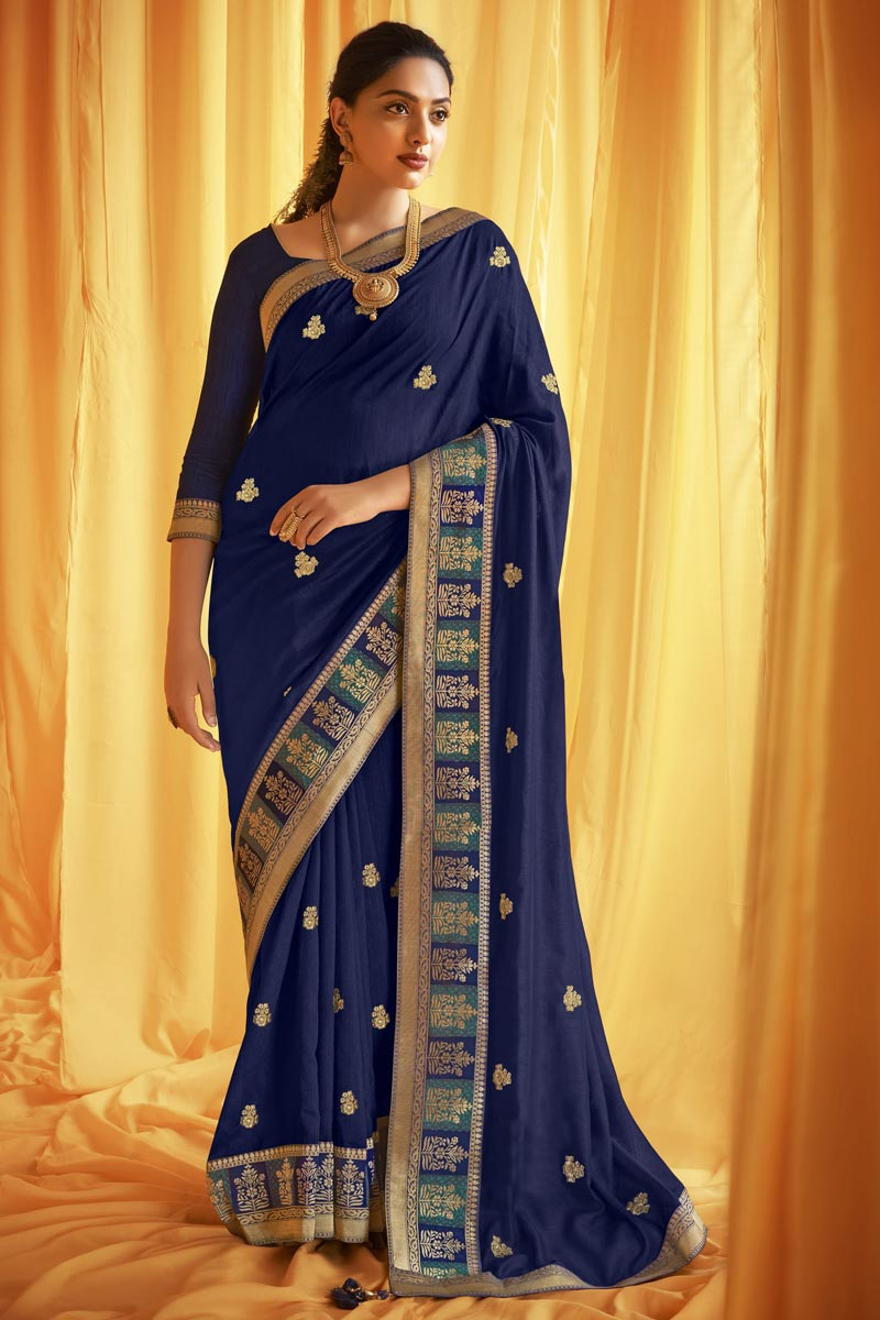 Art Silk Fabric Fancy Festive Wear Navy Blue Color Embroidery Work Saree