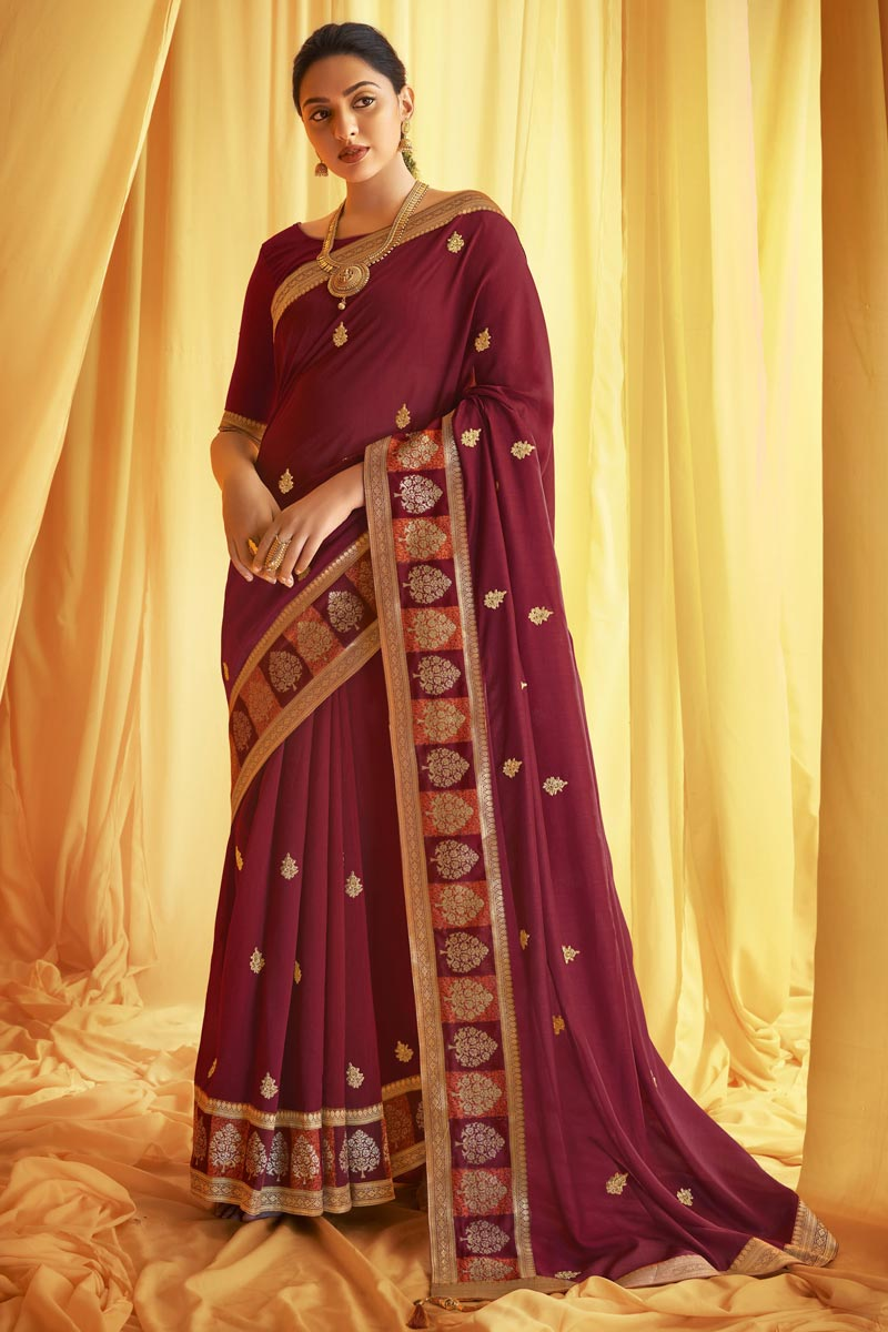 Maroon Color Festive Wear Art Silk Fabric Fancy Embroidery Work Saree