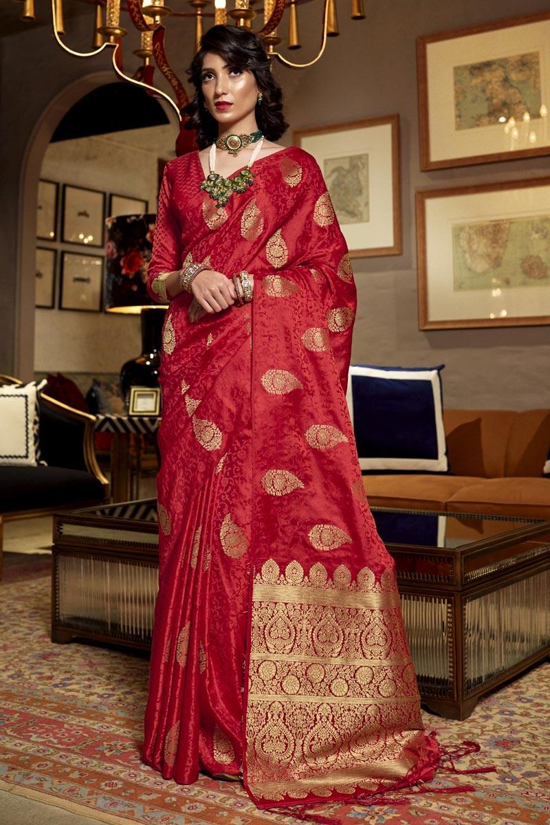 Art Silk Fabric Sangeet Wear Red Color Weaving Work Saree