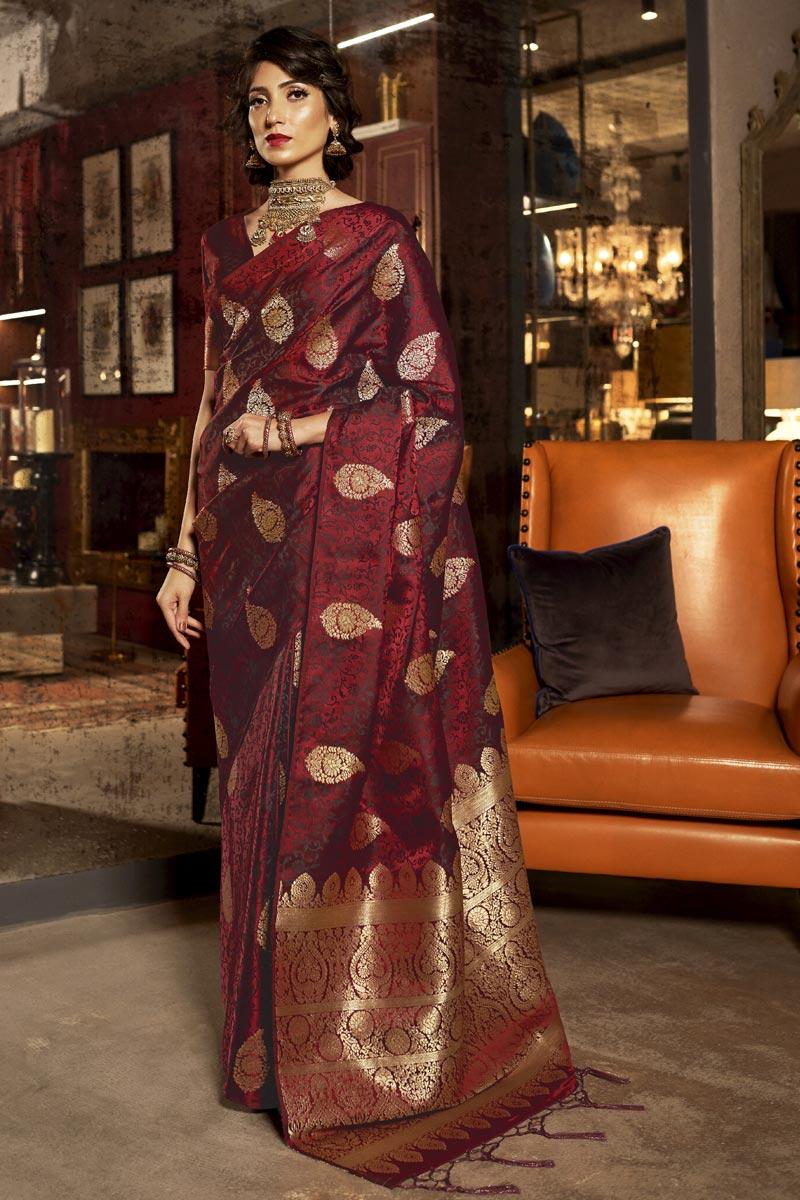 Maroon Color Sangeet Wear Art Silk Fabric Weaving Work Saree