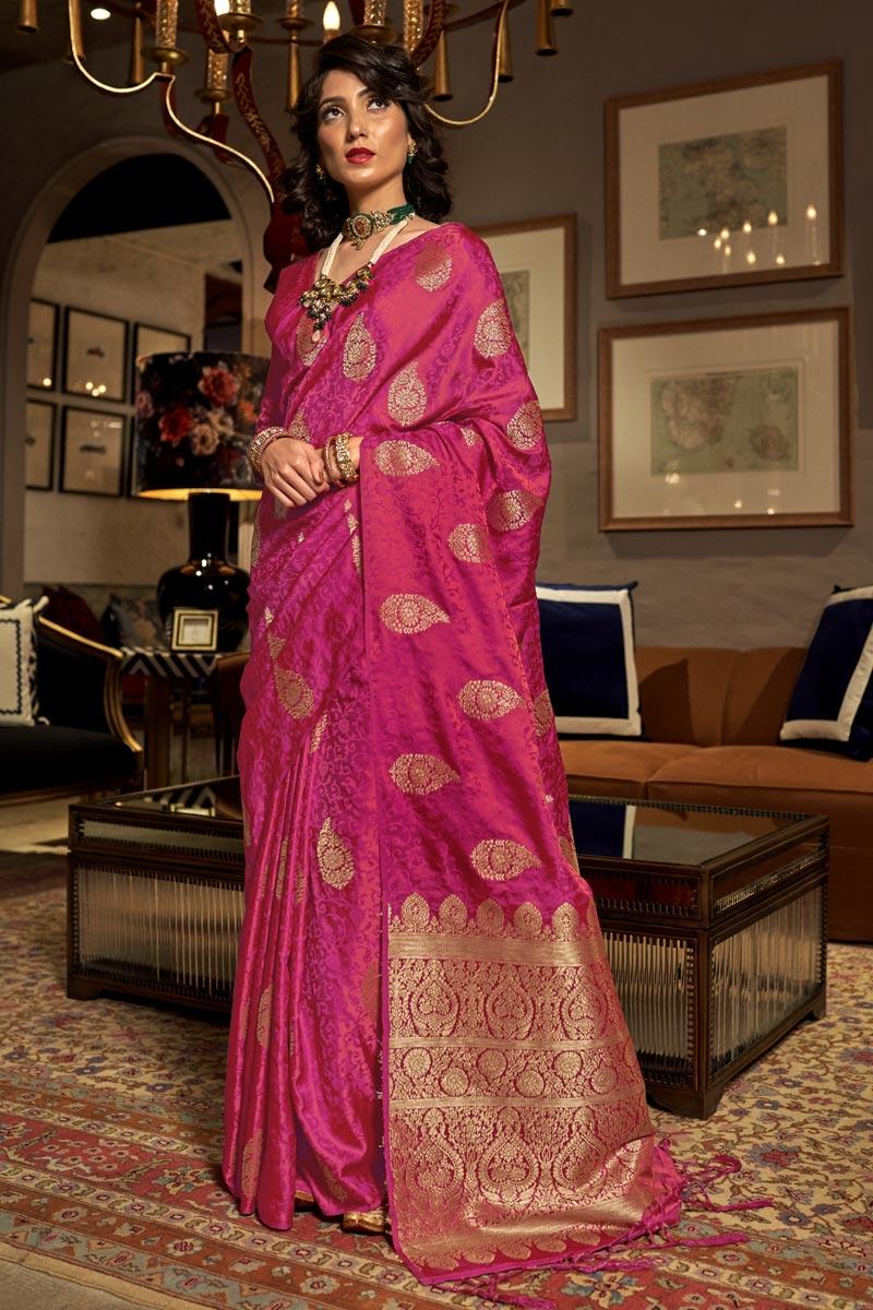 Sangeet Wear Rani Color Weaving Work Saree