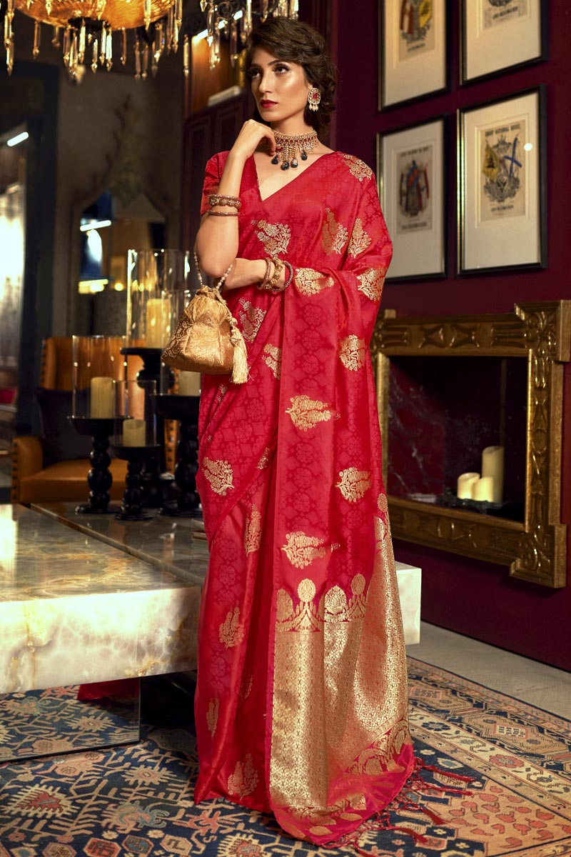 Sangeet Wear Red Color Art Silk Fabric Weaving Work Saree