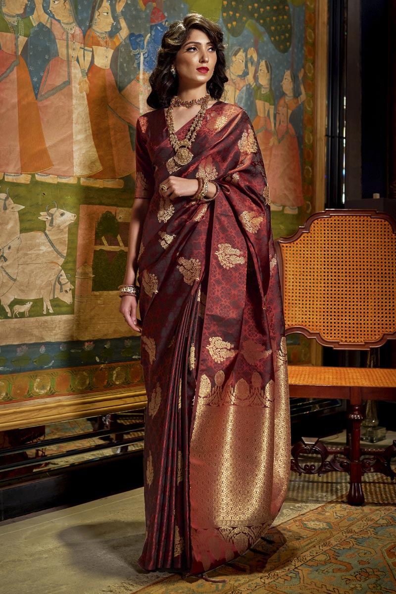 Sangeet Wear Art Silk Fabric Weaving Work Saree In Maroon Color